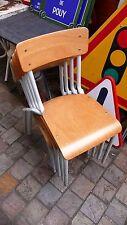 Meuble de Métier Vintage Lot de 4 Chaises d'Ecole Métal et bois Industrielle