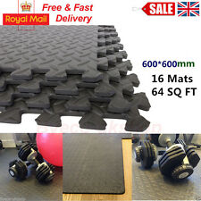 UK 64 SQ FT INTERLOCKING EVA FOAM FLOOR MATS GARAGE GYM PLAY PUZZLE EXERCISEACK