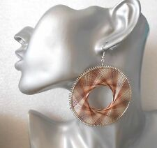 Gorgeous Big Brown/White Round Thread Earrings - Clip-on by Request
