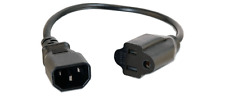 C14 Male To NEMA 5-15 AC Outlet Female Power Adapter Cord - 1FT
