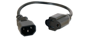 1-FT IEC320 C14 Male To 3-Prong NEMA 5-15 Outlet Female Power Cord Adapter
