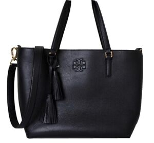 NWT Tory Burch Black Leather Thea Zip Pebbled Leather Tote Handbag Authentc $495