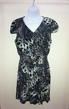 "Size XL Blouse/Top,No Boundaries-Greyish-Blue,Black White, 36""x31"",Animal Print"