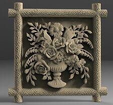 STL 3D Models # FLOWERS DECORATIVE PANEL # for CNC Aspire Artcam 3D Printer