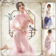 Women Sexy Sheer See-trough Qipao Cheongsam Dress Cosplay Lingerie Nightwear