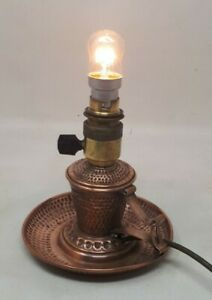 Antique Arts & Crafts Copper Candlestick Converted to Electric Lamp 13 x 13 cms