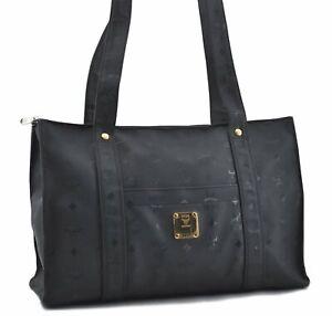 Authentic MCM Visetos PVC Leather Vintage Shoulder Tote Bag Black D7358