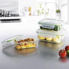 Gourmetmaxx 06527 verre conteneurs de stockage avec couvercle | ensemble 3 pièces | ovenp... neuf