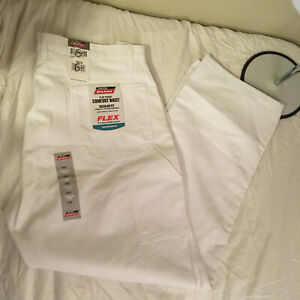 Dickies Mens Relaxed Fit Painters Pants Flex White 42W 32L 42x32 NWT Free Ship!