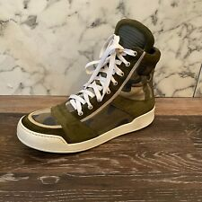 BALMAIN Men's Green Canvas Camouflage High Top Lace-Up Sneakers - 43