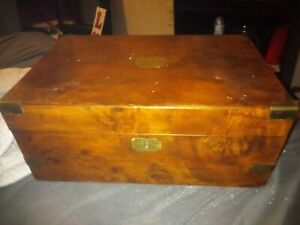 Antique English Walnut Lap Desk With Brass Accents And Secret Drawers