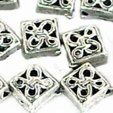 30 Antique Silver Pewter Diamond Spacer Beads 6mm