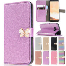 For Samsung S5 S9/Note8 Bling Butterfly Magnetic Card Wallet Stand Case Cover
