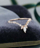 1.00Ct Marquise Cut Diamond Curved Wedding Band Ring 14k Rose Gold Finish