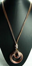 lovely lagenlook statement necklace bronze floating circle cluster clear crystal