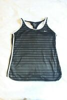 Nike Dri-Fit Womens Black/Grey Stripe Racerback Fitted Tank Top Shirt Size Large
