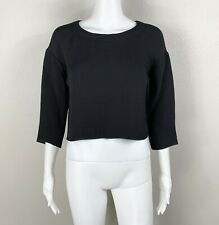 Eileen THE FISHER PROJECT Sponge Crop Top Black Silk-Blend Size XS (Fits a S/M)
