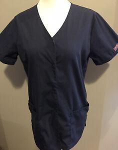 Cherokee Workwear Women's Scrub Top Size 2XSmall Navy Blue Snap Up