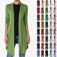 TheMogan S~3X Basic Plain Solid Lightweight Jersey Knit Open Front Long Cardigan