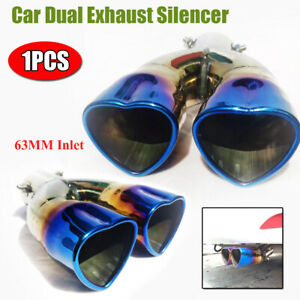 1× Universal 63MM Car Dual Exhaust Tip Tail Throat Pipe Muffler Stainless Steel