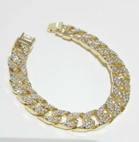Elegant 14ct 9ct Yellow Gold Daimond Cut Band Soild Womens Mens Bracelet 9'' inc