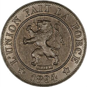 Belgium 1894 10 Centimes (French) LUSTROUS TONED UNC