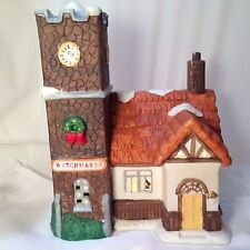 """Dickens Collectible Christmas Village Lighted Watchmaker Shop Porcelain 7"""" 35183"""