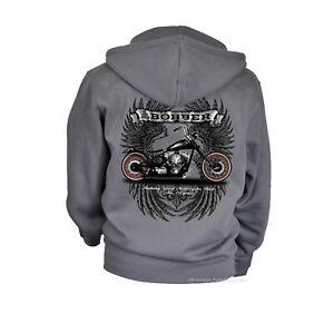 Biker Jacke Kapuze Motorrad Harley-Chopper-Motiv Motorbike Zip Hoodie *4219 grau