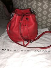 Marc by Marc Jacobs Too Hot to Handle Mini Drawstring Bag Red Leather w/ Silver