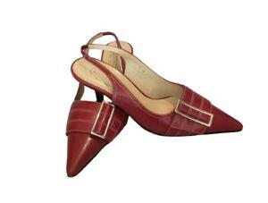 Coach Andrea Sz 7 Maroon Red Buckle Slingback Pointed Toe Kitten Heel Shoes EUC