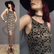 Vintage 90s Goth Witch Dress Sheer Lace Long Over Mini Gold/Black Maxi M 9