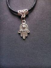 Black waxed cord Silver Hamsa Hand of fatima Evil Eye *karma* necklace / choker