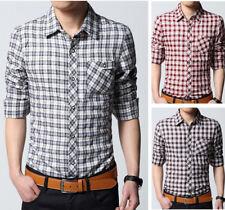 Mens Dress Long Sleeves Shirts Casual Luxury Plaids & Checks Business Work 6160