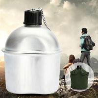 Outdoor Aluminum Alloy Military Patrol Water Bottle Canteen+Green Cover+Cup  !!