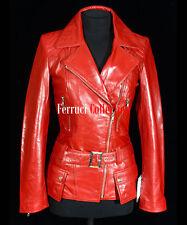Alyssa Ladies Military Leather Jacket Red Wax Womens Retro Soft Lambskin Jacket