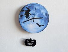 Witch On Blue Moon - Halloween Pumpkin Pendulum - Wall Clock