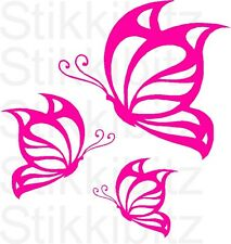 3 x Cute Pink Butterfly Butterflies Car Van Window Bike Window Door Stickers SB7