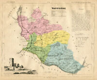 Genuine Original Antique 1877 France Hand Colored Map VAUCLUSE French Europe