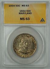 1934 Maryland Commemorative Silver Half Dollar Coin ANACS MS 63 Toned