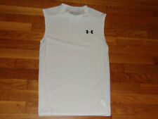 New Under Armour Heatgear Sleeveless White Compression Jersey Mens Large