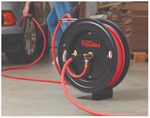 Steel Rubber Air Hose Reel Heavy Duty Outdoor Garden Accessory 3/8in x 50ft 1PC