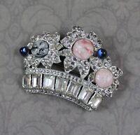 Vintage Rhinestone & Glass, Pink, Blue & Silver Tone Pot Metal Flower Crown Pin