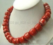 "Fashion Natural Cylinder Red CORAL Necklace Large Gemstone Beads 18"" Women Gift"