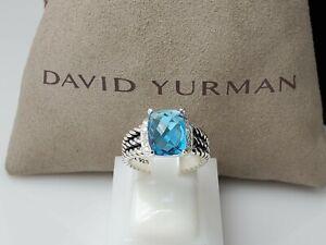 David Yurman Petite Wheaton Ring With Blue Topaz And Diamonds 10x8mm Size 8