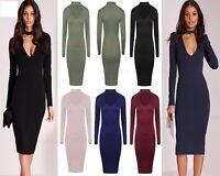 New Ladies Long Sleeve Choker Neck Dress Womens V Neck Plain Midi Size UK (8-26)