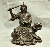 """11,6 """"cuivre chinois Feng Shui Zhao GongMing cheval tenir la sculpture d'épée"""