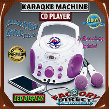 Karaoke Machine CD Player 2x Microphone AUX-In iPhone iPad Samsung Compatible