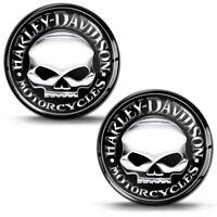 2 x 3D Domed Stickers Harley Davidson Skull Badge Emblem Logo Motorcycle Helmet