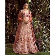 Pink Indian Designer Satin Lehenga Choli Dupatta Set Ethnic Wedding Wear Lengha