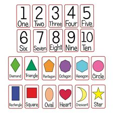 Numbers and Shapes Flash Cards Kids Toddlers Preschool Early Learning Resource